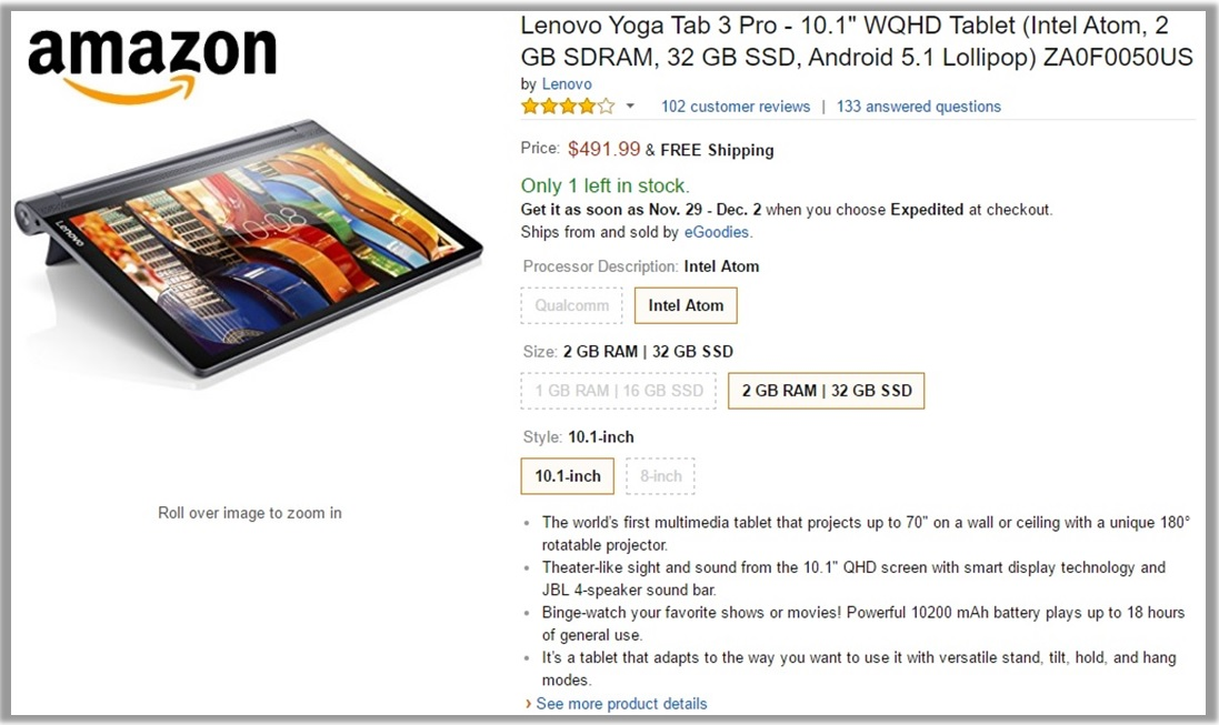 Amazon Yoga Tab 3 Deal
