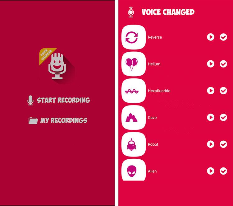 Voice Changer app Menu
