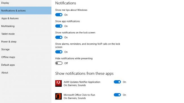 prevent Windows 10 notifications
